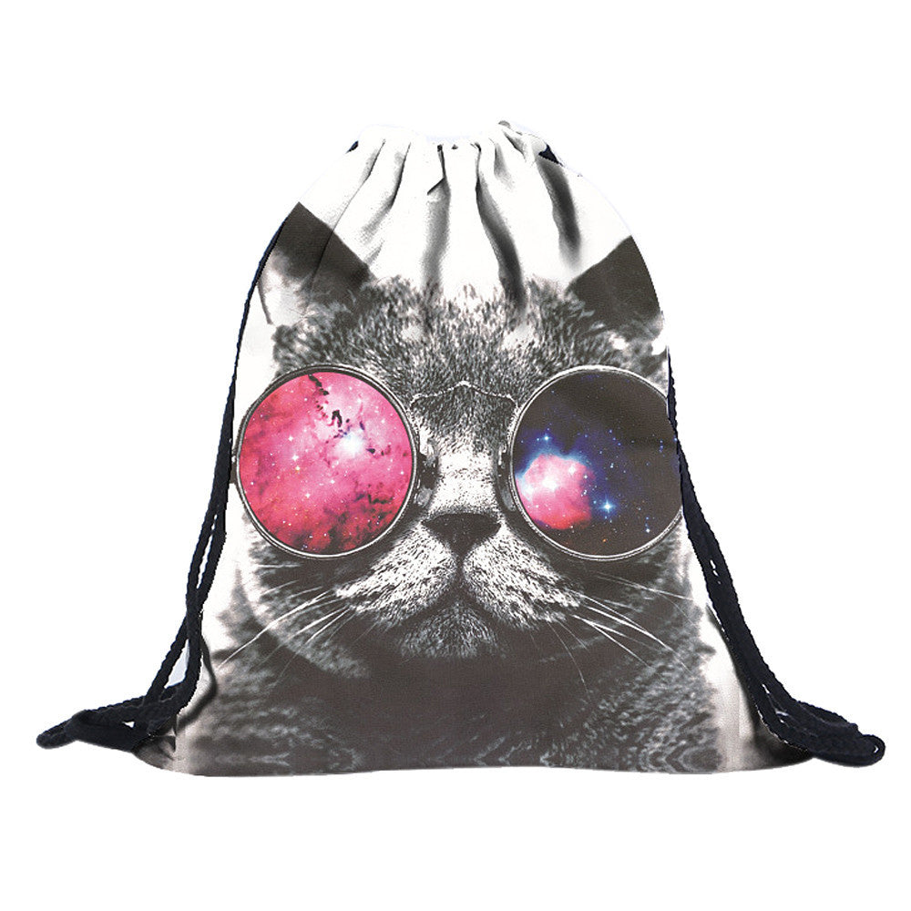 Fashion Women Small Drawstring Backpack Polyester Backpacks Travel Bag Emoji - GTG