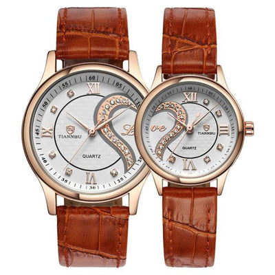 1 Pair Tiannbu Ultrathin Leather Romantic Fashionuple Wrist Watches - GTG
