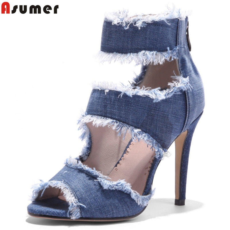 New fashion summer shoes peep toe denim high heels sandals sexy lady date shoes - GTG