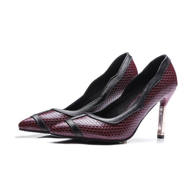 New Arrival women pumps pointed toe ladies prom shoes shallow mixed colour high heels - GTG
