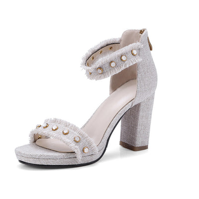 2018  summer ladies elegant wedding shoes thick heel sandals - GTG