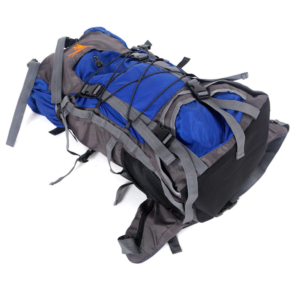 60L Man Woman Outdoor Camping Mountaineering Travel Bag Backpack Rucksack Blue - GTG