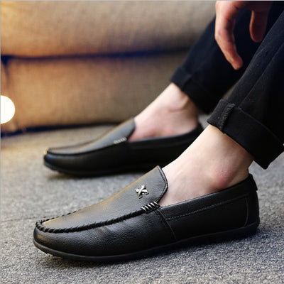 2018  New Breathable Men Slip On Men Casual Leather Shoes Fashion - GTG