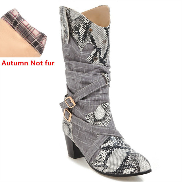 New women boots snake autumn winter mid calf boots high heels ladies motorcycle boot - GTG