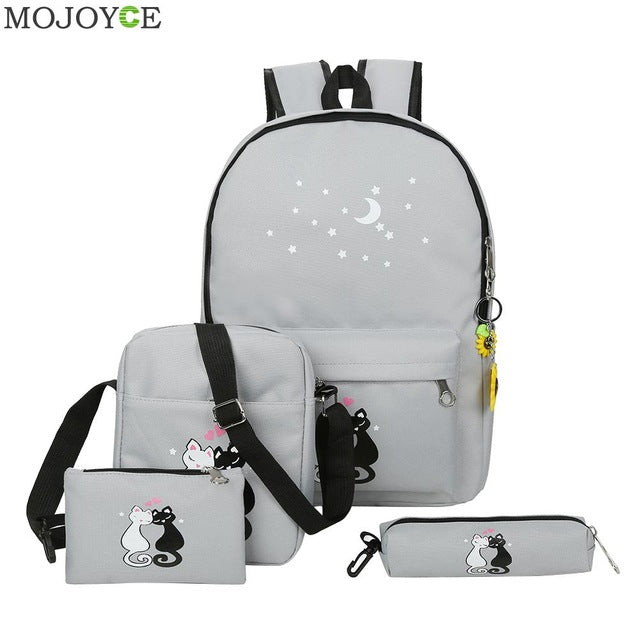 Brand 4Pcs/set Canvas Women Backpacks Cute Cat School Bags Girls Travel Bag - GTG