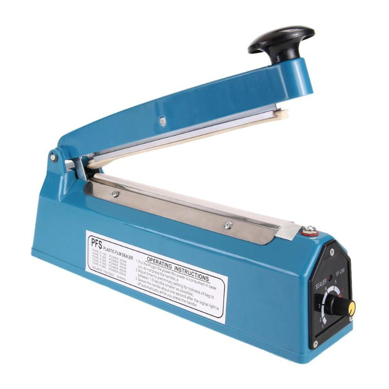 "8"" 110V 300W Manual Plastic Film Sealer Heat Impulse Sealer Poly Bag Sealing Machine - GTG"