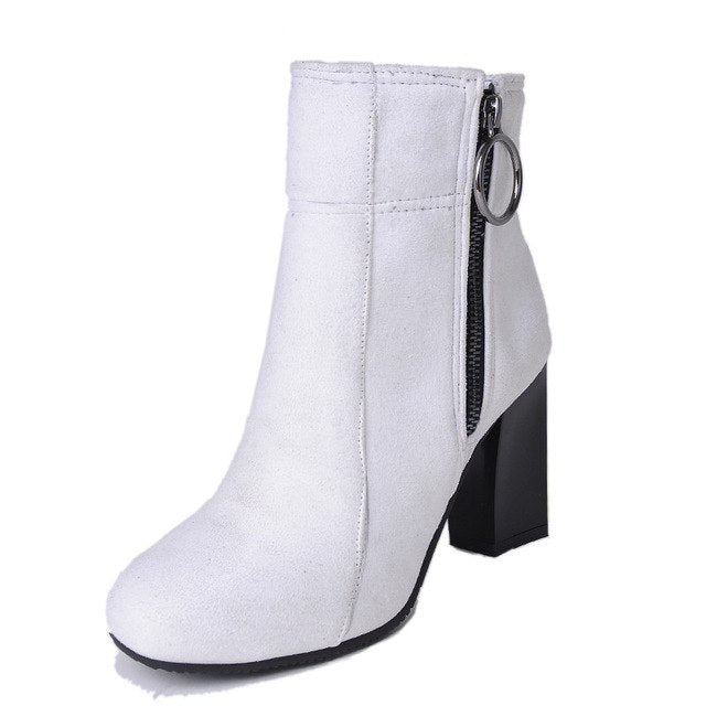 2018 fashion autumn winter boots women round toe zip ankle high heels - GTG
