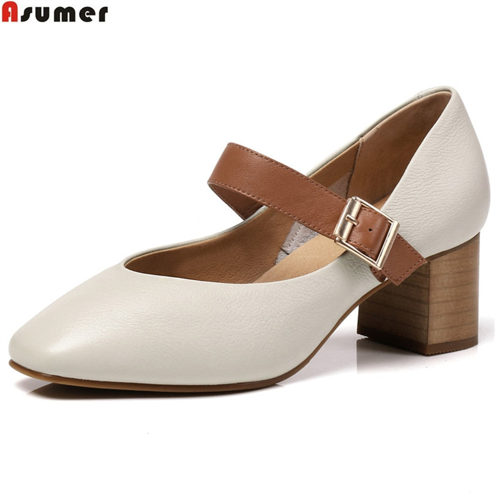 Fashion spring autumn square toe buckle women genuine leather high heels shoes - GTG