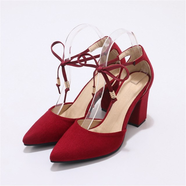 Fashion spring autumn ladies pumps pointed toe cross tied women high heels shoes - GTG