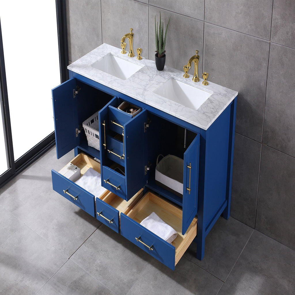 Image of: Eviva Navy 60 Inch Deep Blue Bathroom Vanity With White Carrera Counter Top And Double White Undermount Porcelain Sinks Luxe Bathroom Vanities