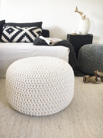 ottoman crochet knitted pouffe grey yellow knitted pouffe knitted pouf