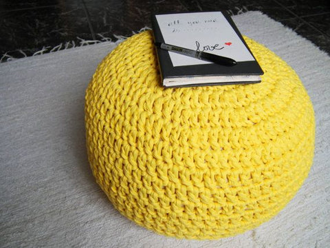 Yellow pouf