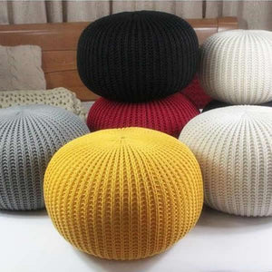 Rester - Hand Knitted Woolen Pouf Black - The Fancy Place