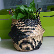 Load image into Gallery viewer, WooCar - Natural Woven Seagrass Basket Black - The Fancy Place