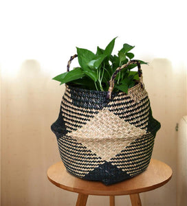 WooCar - Natural Woven Seagrass Basket Black - The Fancy Place