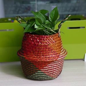 WooCar - Natural Woven Seagrass Basket Red - The Fancy Place
