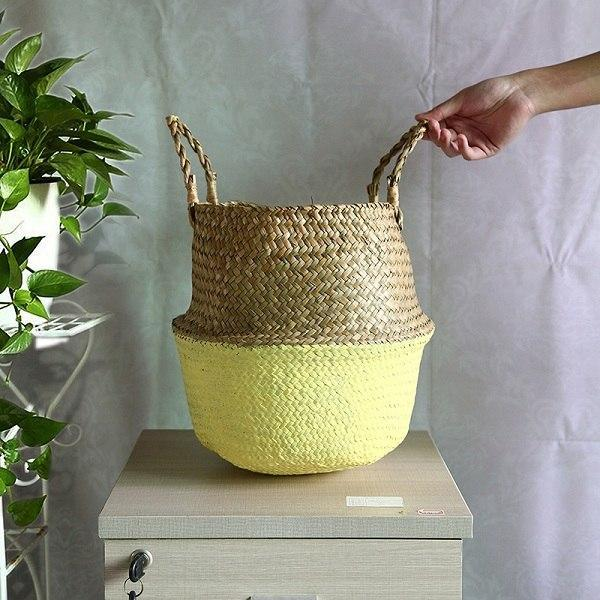 WooCar Yellow - Natural Woven Seagrass Basket - The Fancy Place