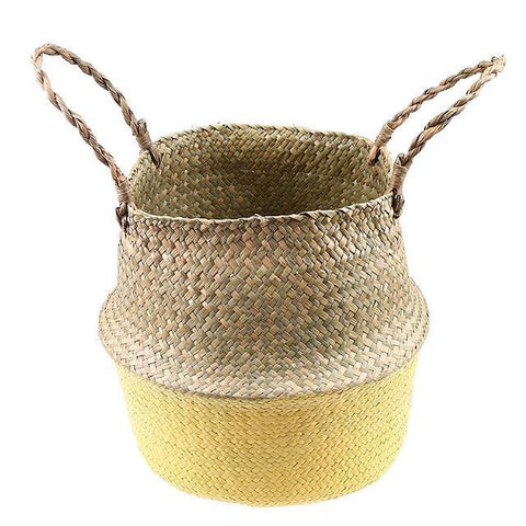 WooCar Yellow - Large Oval Woven Basket