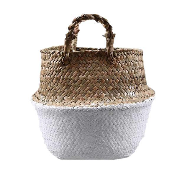 WooCar White - Natural Woven Seagrass Basket - The Fancy Place