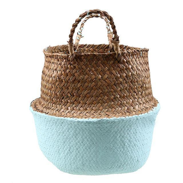 WooCar Blue - Natural Woven Seagrass Basket - The Fancy Place
