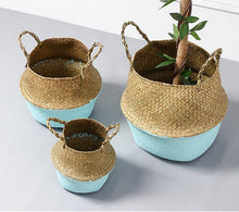Load image into Gallery viewer, WooCar Blue - Natural Woven Seagrass Basket - The Fancy Place
