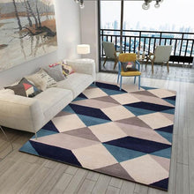Load image into Gallery viewer, black living room rug, blue rug living room, living room rug ideas , living room rug placement, geometric rug,home decor, home decor ideas, cheap home decor