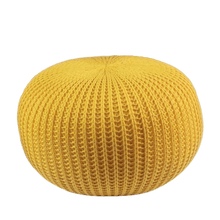 Load image into Gallery viewer, Rester - Yellow Knitted Pouffe