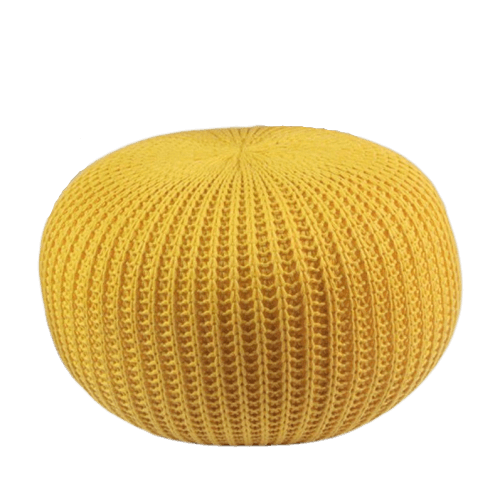 Rester - Yellow Knitted Pouffe
