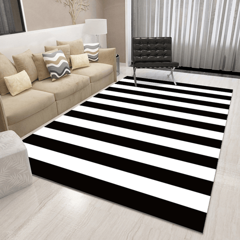 Blå Geometric Rug Black And White