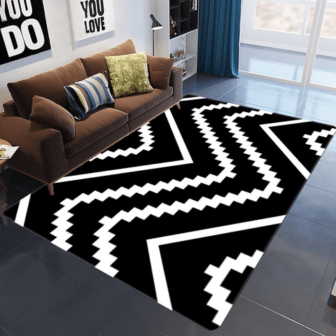 Bringa Geometric Rug Black And White