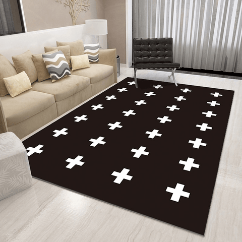 Djup Geometric Rug Black And White