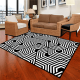 Fylla Geometric Rug Black And White