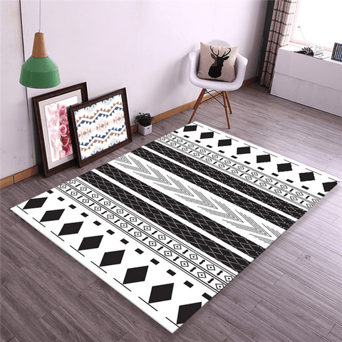 Gemensam Geometric Rug Black And White