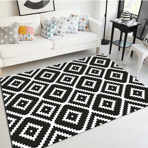 Hjul Geometric Rug Black And White