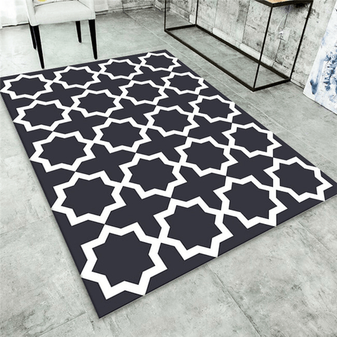 Ran Geometric Rug Black And White