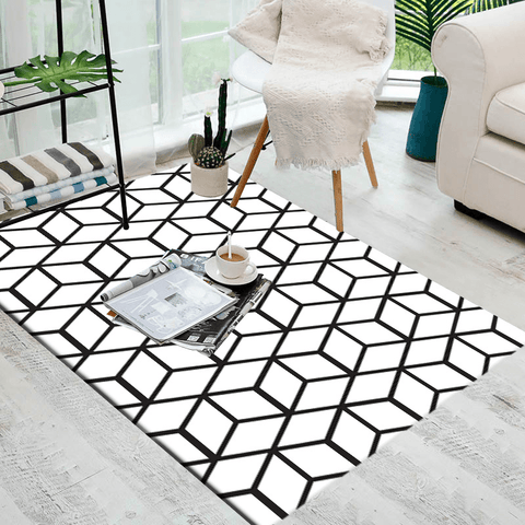 Skratt Geometric Rug Black And White
