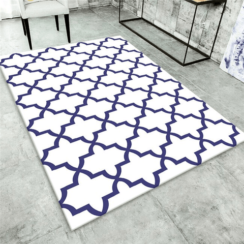 Spel Geometric Rug Blue And White