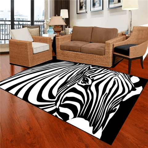 Språk Geometric Rug Black And White