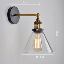 Load image into Gallery viewer, industrial wall sconce lighting measurements with glass for outdoor or indoor