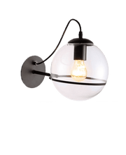 Load image into Gallery viewer, glass wall light glass globes for wall lights with black stand and edison bulb for kitchen living room or outdoor