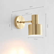 Load image into Gallery viewer, golden wall sconce light fixtures measurement with plug in for outdoor or indoor