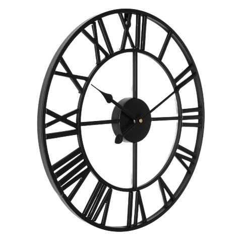 Finvis Large Modern Wall Clock Black