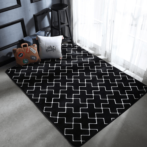 Snabb Rug For Living Room Area Black And White