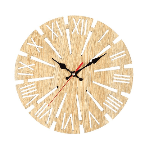 började Wall Clock In Wood White
