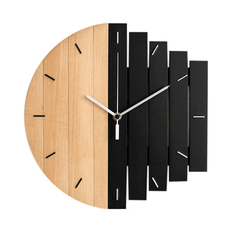 höra Wall Clock In Wood Black
