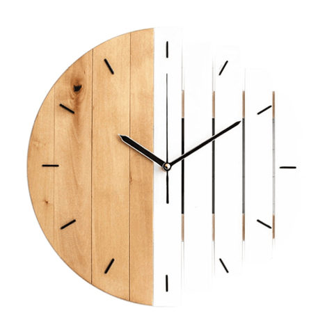 höra Wall Clock In Wood White