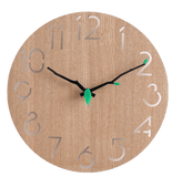 vetenskap Wall Clock In Wood Yellow