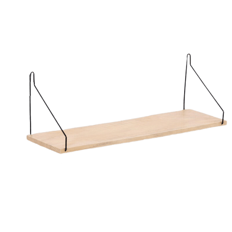 Svart Wall Shelf With Brackets Wood