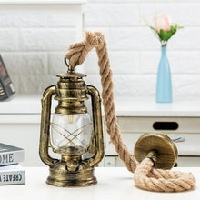 Load image into Gallery viewer, pendant light industrial rope hanging lighting store fixture vintage farmhouse