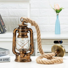 Load image into Gallery viewer, lighting store kerosene fixture lantern industrial vintage farmhouse lights rope hanging pendant